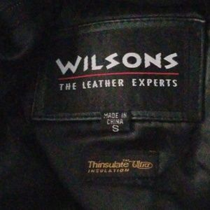 Small Wilsons Leather long Black Trench Coat